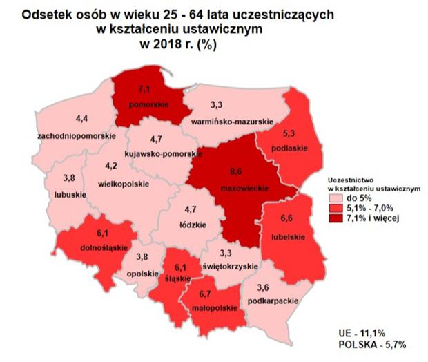 Mapa: odsetek osób w wieku 25-64 lata uczestniczących w kształceniu ustawicznym w poszczególnych województwach Polski.