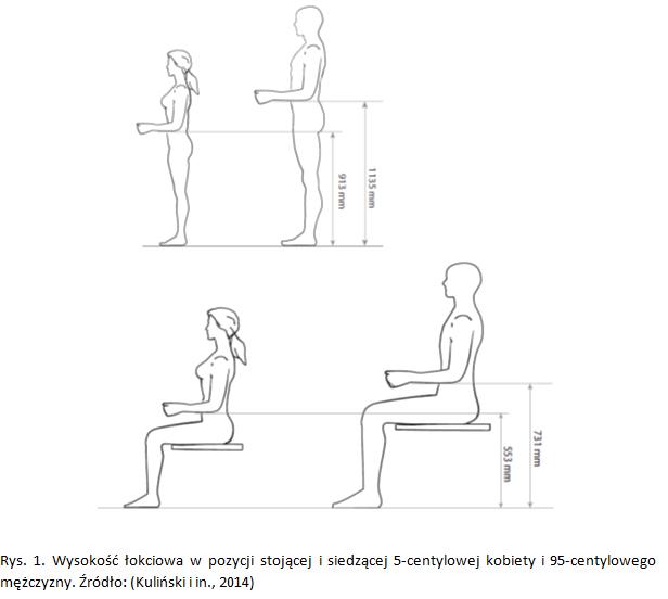 Grafika Wysokość łokciowa w pozycji stojącej i siedzącej 5-centylowej kobiety i 95-centylowego mężczyzny